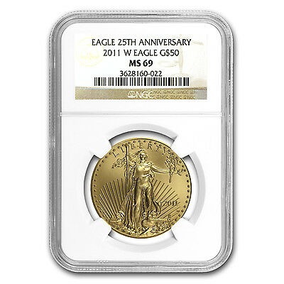 2011-W 1 oz Burnished Gold Eagle MS-69 NGC - SKU #70823
