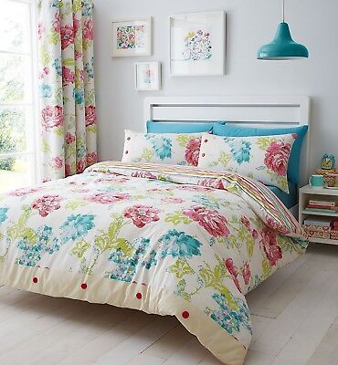 Catherine Lansfield Stab Stitch Floral Duvet Quilt Cover Set Bed Bedding Set New