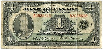 1935 Bank of Canada Ottawa One Dollar $1 Note - Currency - JX761