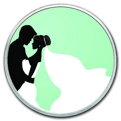 APMEX 1 oz Silver Colorized Round - SKU #149463 Just Married - Silhouette