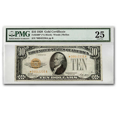 1928* $10 Gold Certificate VF-25 PMG (Star Note)