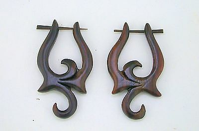 Pair of Organic Hand Carved Sono Wood Curved Stirrup Hanger Earrings