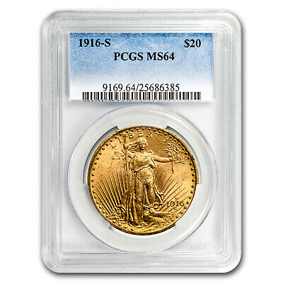 1916-S $20 Saint-Gaudens Gold Double Eagle MS-64 PCGS - SKU#18046