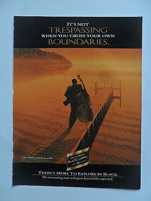 1997 Print Ad Johnnie Walker Black Label Whiskey ~ Cello Player Not Trespassing