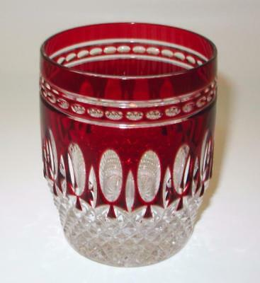 """Waterford CLARENDON Double Old Fashioned Tumbler RUBY Red, Cut 4"""" Tall"""