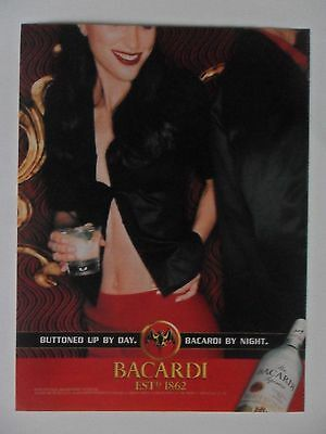 2001 Print Ad Bacardi Rum ~ Buttoned Up By Day Sexy Girl