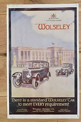 Antique 1922 The Graphic Illustrated Magazine Newspaper Page Wolseley Advert