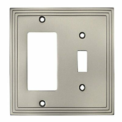 Satin Nickel Single Toggle GFI Decora Rocker Combo Wall Switch Plate Switchplate