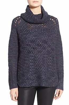 Sanctuary Womens Wool Blend Cowl Tunic Sweater Blue L, New