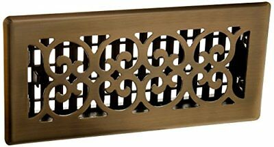 Decor Grates 4in by 10in Scroll Floor Register Antique Brass, New