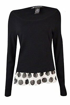 INC Women's Polka-Dot Hem Sweater PM Deep Black, New