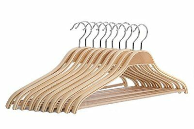Solid Natural Wooden Coat Shirt Hangers with Non-slip Pant Bar 10-Pack, New