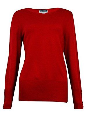JM Womens Plus Crew Neck Cozy Yarn Pullover Sweater Red 1X, New