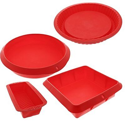 Bakeware Set Baking Molds 4 Nonstick Silicone Bakeware Set with Round Square and