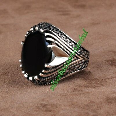 Turkish Handmade 925 Sterling Silver black onyx Mens Ring Sz 9 us Free Resize