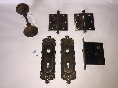 Antique Brass Interior Door Hardware Round Knobs Back Plates Lock Set Hinges  #4
