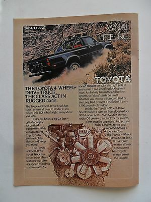 1982 Print Ad Toyota 4x4 Truck Automobile ~ Rugged Class Act