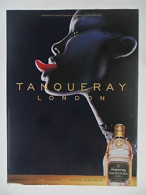 1999 Print Ad Tanqueray Gin Distilled English ~ London Sexy Girl Tongue