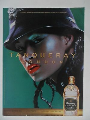 1999 Print Ad Tanqueray Gin Distilled English ~ London Sexy Girl Red Lipstick