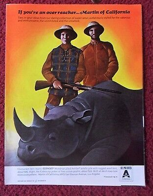 1966 Print Ad Martin of California Sportswear ~ Rhino Rhinoceros Hunting ART