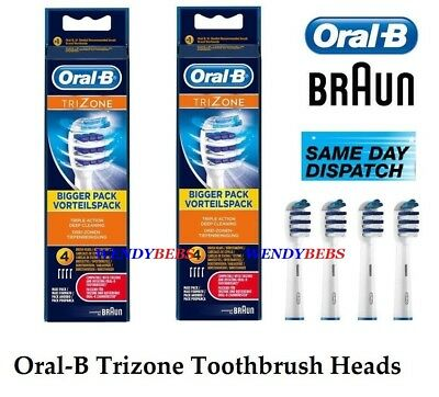 8 Genuine Braun Oral-B Trizone Tri Zone Toothbrush Replacement Brush Heads Eb30.