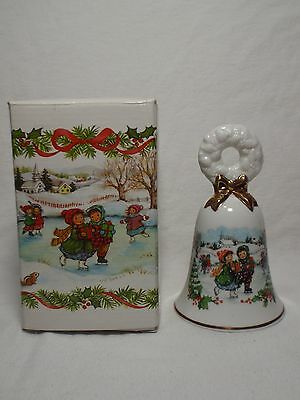 Vintage Avon 1986 Porcelain Christmas Bell Gold Trim Children Ice Skating w Box
