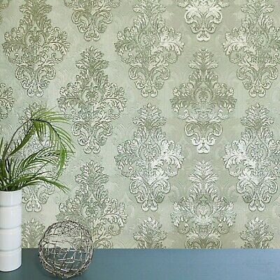 Vintage style paper Wallpaper rolls wallcovering damask silver white textured 3D