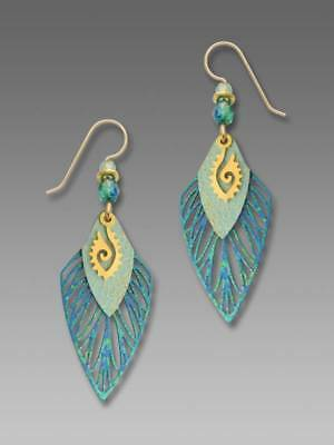 Adajio Earrings Rich Blue Feather with Arrowhead Gold Plated Ancient Eye Symbol