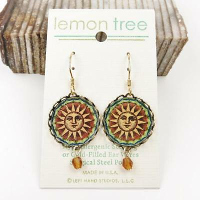 Sun Face Print Lace Brass Disc Earrings by Lemon Tree 14K Gold Filled Hook