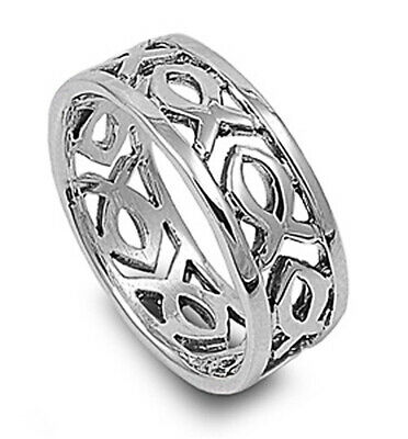 Men Women Sterling Silver Plain Christian Fish Band Ring 9mm / Free Gift Box