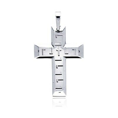 Men Women 316L Stainless Steel High Polished Double Cross Pendant Necklace