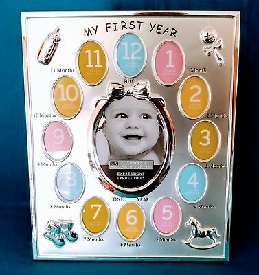 11 x 9 Silver Baby My First Year Collage Frame, Expressions Newborn to 12 months
