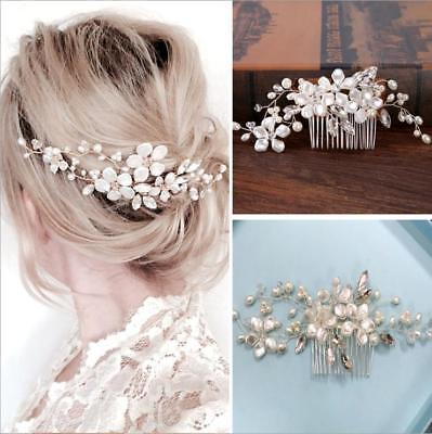 Wedding Silver Crystal Tiaras Comb Hairpin Bridal Pearl Crown Prom Pageant