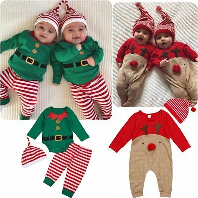 Christmas Newborn Baby Boys Girls Outfits Rompers Bodysuit Leggings Hat Clothes