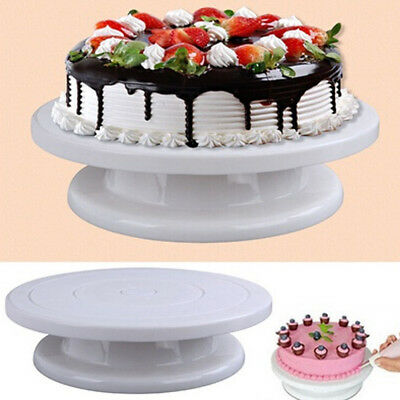 DIY Cake Decorating Turntable Rotating Revolving Kitchen Display Stand White