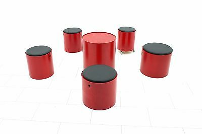 Verner Panton Party Set 1965, 5 Hocker + 1 Tisch Stool Dänemmark Plywood design