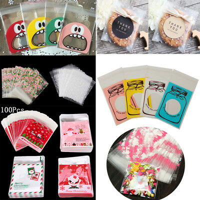 100pcs Self Adhesive Cellophane Bag Pouch Christmas Party Cookie Candy Gift Bags