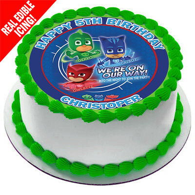 PJ Masks Edible Icing Image Birthday Decoration Personalised Party Cake Topper