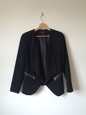 H&M Women's Black Blazer with Shoulder Pads and Zip Detail Size UK 14