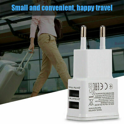 2-Port USB 5V 2A Quick Charge Wall Charger Adapter EU Plug Travel Power Supply