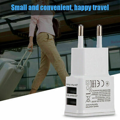 USB 5V 2A 2-Port Charge Wall Quick Charger Adapter EU Plug Travel Power Supply