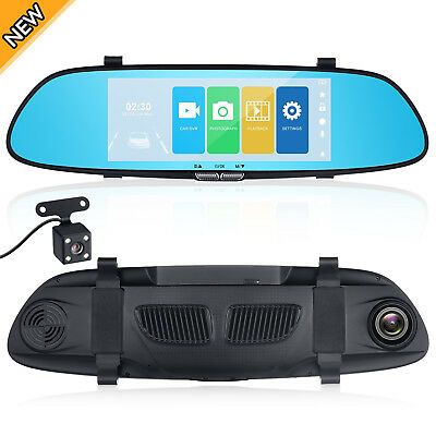 7'' HD 1080P Dual Lens Rearview Mirror Camera Driving Recorder Car DVR Dash Cam