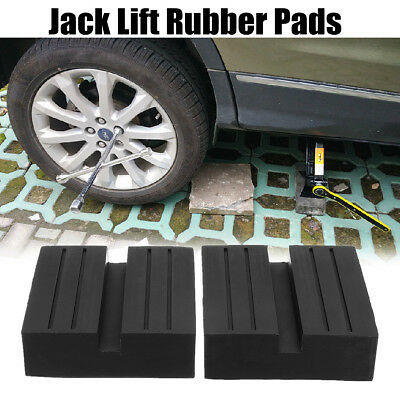2Pcs Universal Car Slotted Lift Trolley Jack Disk Block Rubber Pad Guard Adapter