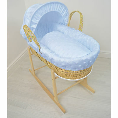 New 4Baby Soft Stars Blue Palm Baby Moses Basket & Rocking Stand