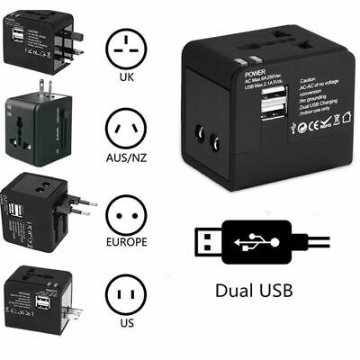 Universal AC Power Plug World Travel Adapter Converter with Dual USB Charger