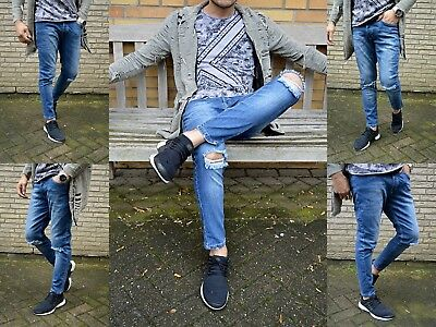 Fashion Young Rocker BIKER Skinny Fit Strech Stone Washed Herren Destroyed Hose