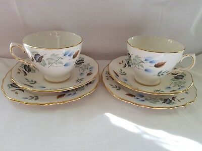 Two sets of Colclough Bone China trio's  (6 pieces in total) patent number 8162