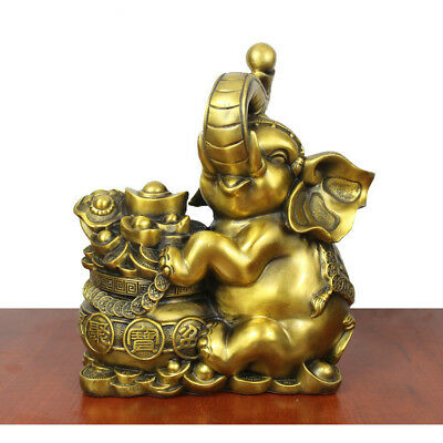 Chinese pure copper elephant Lucky feng shui crafts Decoration Statue