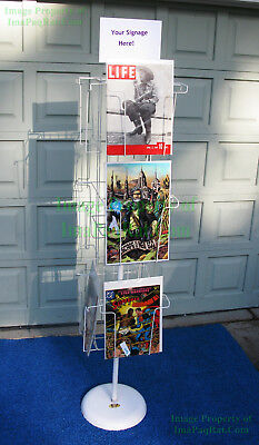 "Vintage Magazine Comic Rotating Wire Floor Display Rack HUGE 12"" x 17"" Pockets"