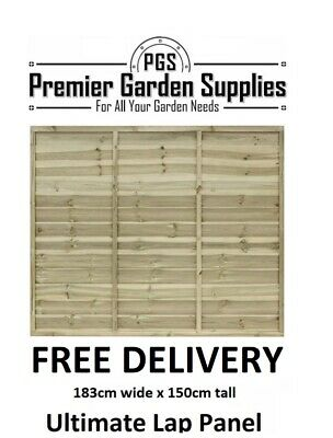 6ft x 5ft Ultimate Euro Lap Fence Panel Garden Wooden Fencing RRP £35 treated